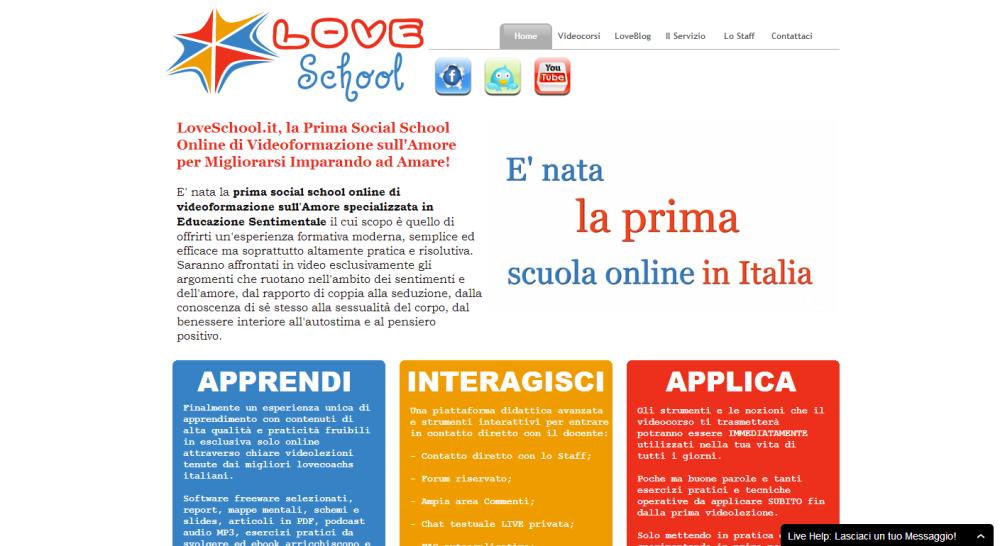 L'Home page di Love School
